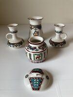 MAHBAN CERAMICS IRAN AZTEC DESIGN Job lot Candle Sticks Rare