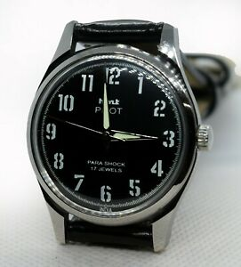 Vintage HMT Pilot Sport Look Mechanical Hand Winding 17J Men's Wrist Watch O0005