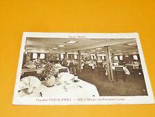 CPA CARTE POSTALE ANNEES 1930 PAQUEBOT PASCAL-PAOLI SALLE A MANGER 1eres CLASSES