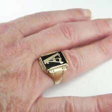 Letter A Monogram Mens Gold Signet Ring Antique Art Deco Gatsby Unisex 1920s