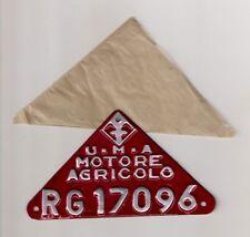 TARGA TARGHETTA U.M.A. MOTORE AGRICOLO RAGUSA TRATTORE LICENSE PLATE TRACTOR