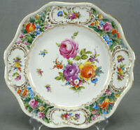 Carl Thieme Dresden Hand Painted Floral & Gold Reticulated Dinner Plate B