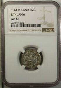Poland  Lithuania 1/2 Groshe 1561 NGC MS 65  UNC Silver Sigismund August