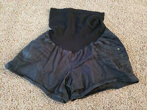 Black Maternity Shorts Size Medium,  Full Panel Belly Black Bottoms