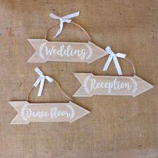Set di 3 Naturale & in Legno Bianco Venue Direzione Frecce Matrimonio