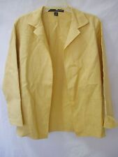 LINDA ALLARD ELLEN TRACY Yellow 100% Linen Open Blazer Jacket sz 4P Pet.4