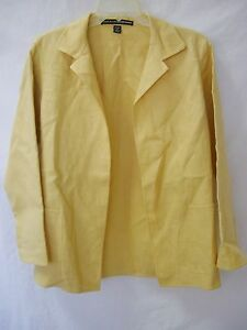 LINDA ALLARD ELLEN TRACY Yellow 100% Linen Open Blazer Jacket sz 4P Pet.4