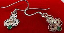Pendientes de plata de ley 950 en filigrana con esmeralda