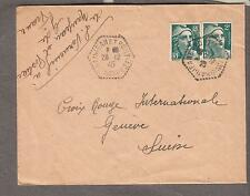 Dec 1945 post Wwii cover France Naujean et Postiac Gironde to Red Cross Geneva
