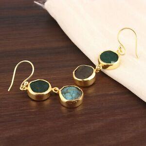 Green Jade Quartz Labradorite 24k Gold Plated Double Stone Drop Dangle Earrings