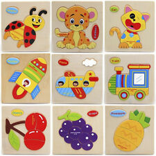 Wooden Blocks Animals Fruit Kid Children Educational Toy Puzzle Cartoon For Baby