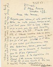 Cinéma théâtre Raymond Rouleau lettre autographe signée Roger Lauran 1953