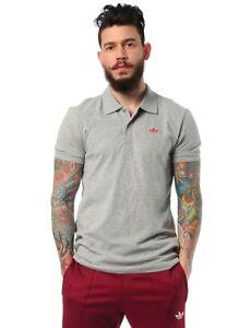 adidas Originals Mens Cotton Pique Polo Shirt Emroidered Trefoil Cashion Fashion