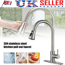 Kitchen Stainless Steel Sink Taps Pull Out 360° Swivel Mixer Faucet &Cover Plate