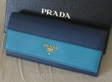 NWT Auth Prada Saffiano Leather Bicolor Continental Wallet Blue Birthday Gift