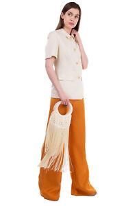RRP €315 CULT GAIA ANGELOU Braided Tasseled Clutch Bag Round Handles Slouchy
