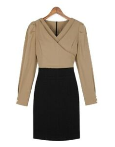 Hot Sexy Elegant Ladies V neck Long Sleeve Fitted Business outfit Shirt Dress XL