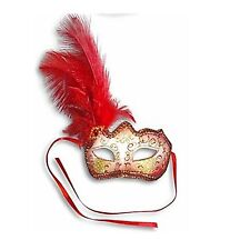 Red Feather Glitter Mask Venetian Style Masquerade Ball Party Face Eye Mask.