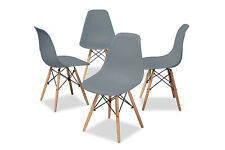 Dining Chairs Home Office 4 Chairs Plastic Seat  Living Room Grey Chairs New