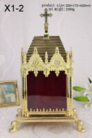 "Ornate Gothic Reliquary for your Relic Pyramid-Shaped Roof Cross, 16.54""H X1-2"