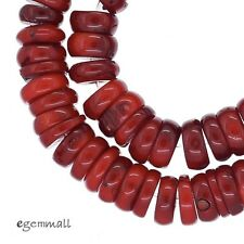 "Red Bamboo Coral Rondelle Heishi Beads 10 - 11mm 8"" #63097"