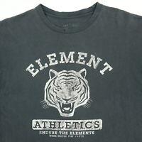 Element Skateboarding T-Shirt MEDIUM Nicely Faded Black Distressed Grunge Tiger