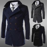 Men Jacket Warm Winter Trench Long Outwear Tops Coat Slim Casual Parka Overcoat