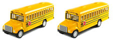 Set of 2 Yellow School Bus Diecast Model pull back action openable doors 5 inch