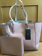 ZARA REVERSIBLE STUDDED TOTE BAG pink silver new with tags
