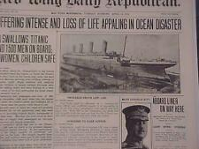 VINTAGE NEWSPAPER HEADLINE~OCEAN STEAMSHIP SHIPWRECK TITANIC SINKS LOSS DISASTER