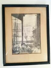 "James A. M. Whistler, ""Rotherhite"" drypoint signed 1860, Framed. Circa 1910."
