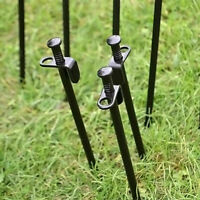 Camping Heavy Duty Black Steel Metal Tent Canopy Stakes Pe Ground Nice T1Y5