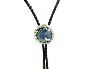 Silver Plated Handmade Howling Wolf Labradorite Stone Western Leather Bolo Tie