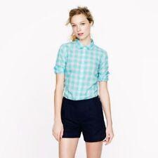 J. Crew Perfect Shirt Size 00 XXS Mint Green Aqua Blue Gingham Plaid EUC