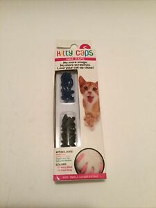40 Kitty Caps Cat Nail Caps 20 Navy Blue & 20 Cool Gray Small - NEW