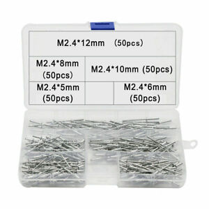 Blindnieten Sortiment Alu/Stahl 250 Stück Satz 2,4mm Flachkopf Nieten Popniete