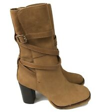 Tory Burch Womens Heel Boots Jamie Vicuna Brown Suede Leather Straps Size 10