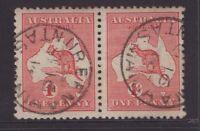 Tasmania NUBEENA postmark on 1d Kangaroo pair 1914