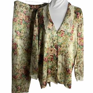 Vintage Gold Label 80s Victorias Secret Satin Pajama Pants Set L Floral Beige