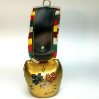 Vintage Brass Cow Bell Zurich Hand Painted Signed with Fringed Leather Strap