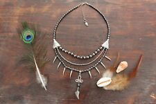 Gorgeous Handmade 3 Layer Hematite Bead & Silver Spike Feather Pendant Necklace