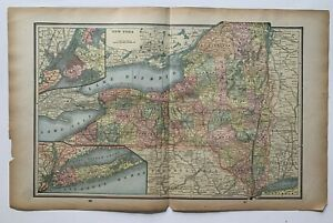1893 New York State Map Gaskell's Family & Business Atlas NYC & Brooklyn maps