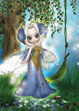Forget Me Not Fairy Birthday Card for women & girls, colourful blue and green