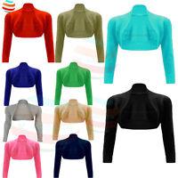 Womens BOLERO SHRUG Plain Long Sleeves Cardigan Short Crop Summer top lot 8-14
