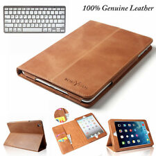 Genuine Leather Cover Smart Bluetooth Keyboard Case For New Apple iPad Mini 4