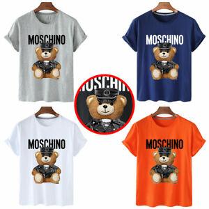 Womens Men Moschino Funny Short Sleeves Cotton Tops Bear Printed T-shirt 2021