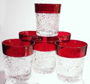 Crystal D'Adriana - 8 oz Old Fashioned Glass (6) Ruby Stained