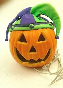 Halloween Plug in Light Up Pumpkin With Purple and Green Cap