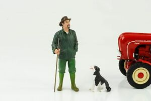 Bauer Farmer Patrick With Dog Figurine 1:18 American Diorama No Tractor