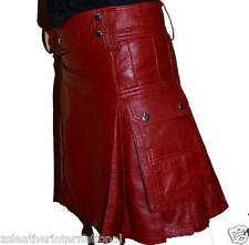Mens Pure Cow Red Leather Pleated Kilt/LARP with Two Side Cargo Pockets All Size
